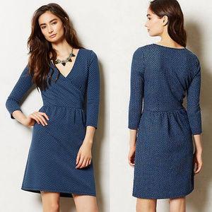 Anthropologie Blue Textured Wrap Dress